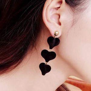 Dangling Black Hearts Earrings